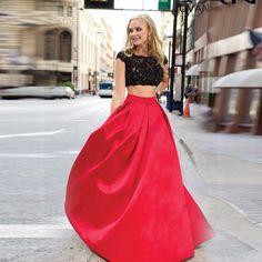 Cheap Elegante Simple rojo falda de una línea de falda larga hasta los pies, Compro Calidad Faldas directamente de los surtidores de China: