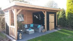 Easy Crafts Ideas at Home Here are some of the most beautiful DIY projects you can try for your self at home If you enjoyed this DIY room dec. Backyard Storage Sheds, Backyard Sheds, Backyard Patio Designs, Pool Shed, Hot Tub Gazebo, Wooden Gazebo, Back Garden Design, Garden Buildings, Outdoor Landscaping