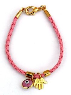 Gold Plated Hamsa & Evil Eye Pink Leather Bracelet for Kids MIZZE Made for Luck Jewelry http://www.amazon.com/dp/B00A9T1YFC/ref=cm_sw_r_pi_dp_Gw57wb01HYKFG