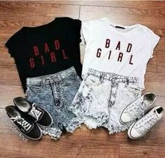 bad girl best friend bestie black and white clothes clothing concert converse denim love matching outfit shoes sister spring summer to Bad Girl Outfits, Twin Outfits, Teenage Outfits, Teen Fashion Outfits, Outfits For Teens, Summer Outfits, Bff Shirts, Best Friend T Shirts, Cute Shirts