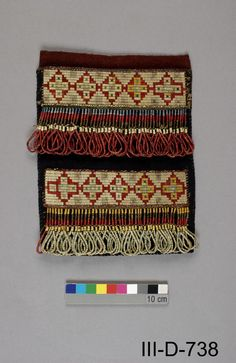 James Bay Cree pouch, porcupine quill, beads and wool. Canadian Museum of Civilization.