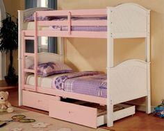 GB-BK916PW Crystalia Pink/White Finish Twin/Twin Bunk Bed + 2 Drawer