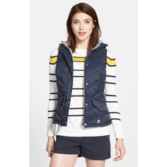 Barbour 'Forland' Hooded Quilted Vest ($180) ❤ liked on Polyvore