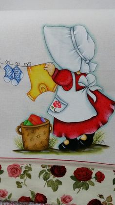 Pinturas by Marli Vieira Embroidery Patterns, Quilt Patterns, Machine Embroidery, Tole Painting, Fabric Painting, Girls Quilts, Baby Quilts, Pinterest Pinturas, Sunbonnet Sue