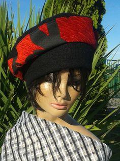 Béret noir et rouge femme NEVADA : Chapeau, bonnet par lemur-rose