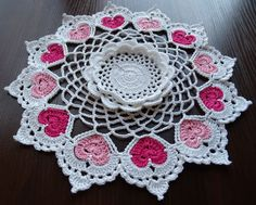Hand crochet white doily centerpiece  with 12 pink  hearts Valentines day  gift