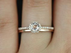 Ultra Petite Amanda & Plain Barra 14kt Rose Gold Round Halo Morganite and Diamonds Wedding Set (Other metals and stone options available)