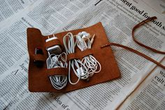 Leather cable organizer roll / headphone by UniqueLeatherLand