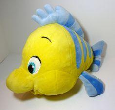 "Disney Little Mermaid 9"" 13"" Mc Flounder Yellow And Blue Fish Plush Disney Store #Disney"