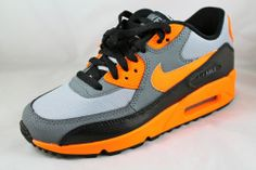 NIKE AIR MAX 90 (GS) Wolf Grey/Total Orange-Black Shoes 307793-036 Sz 5Y