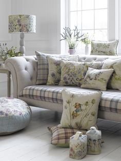 Mayberry Lampshade, price from £77.50 on William Small Lampbase, £125, Voyage Country Cushions, from £27.50, Mayberry