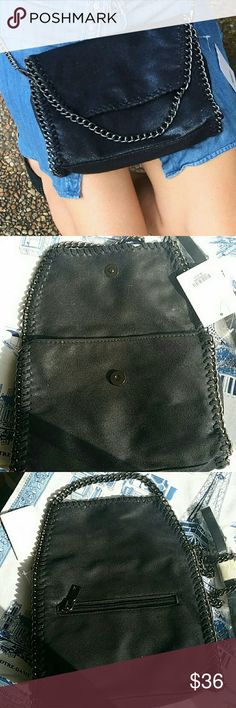 "Trendy vegan  black crossbody bag Vegan, amazing quality,   size small ""J"" Bags Crossbody Bags"