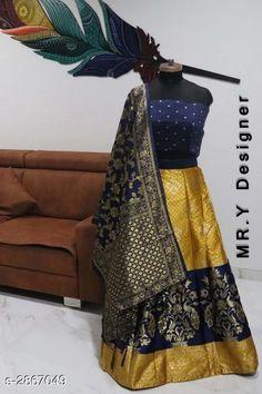 Lehengas Elegant Women's Lehenga Fabric: Lehenga - Jacquard Choli - Taffeta Silk Dupatta - Banarasi Silk  Size: Lehenga (Waist Size) - Up To 36 in Choli - 0.80 Mtr Dupatta - 2.2 Mtr  Length: Lehenga - Up To 40 in Flair: Lehenga - 2.8 Mtr Type: Lehenga - Semi - Stitched Choli - Un - Stitched Description: It Has 1 Piece Of Lehenga 1 Piece Of Choli & 1 Piece Of Dupatta Work: Lehenga - Jacquard Work Choli - Printed Dupatta - Jacquard Work Country of Origin: India Sizes Available: Un Stitched, Free Size, Semi Stitched   Catalog Rating: ★4.4 (519)  Catalog Name: Hiba Elegant Women's Lehengas Vol 13 CatalogID_389506 C74-SC1005 Code: 658-2867049-4722