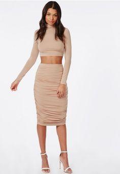 Ruched Seam Midi Skirt Nude