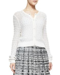 Cropped Novelty Stitched Cardigan with Pearl Buttons by Alice + Olivia at Neiman Marcus.