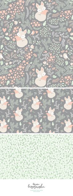 """Sleeping fox"" - surface pattern design mini-collection made for a Spoonflower Weekly Contest. It took 1st place in a contest with pastel limited color palette :)"
