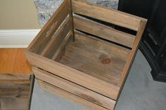 Rustic Wooden Crate with Handles Square Storage Crate