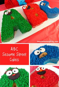 Our ABC Sesame Street Cakes will be the perfect Birthday Cake for your Sesame Street Party. So cute and so easy to make. For more great Sesame Street Party Ideas follow us at https://www.pinterest.com/2SistersCraft/
