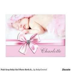 Pink Gray Baby Girl Photo Birth Announcements