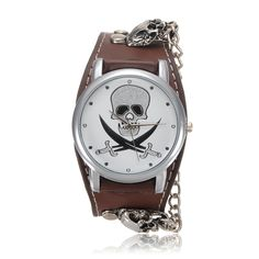 Skeleton Leather Rivet Wrist Watch