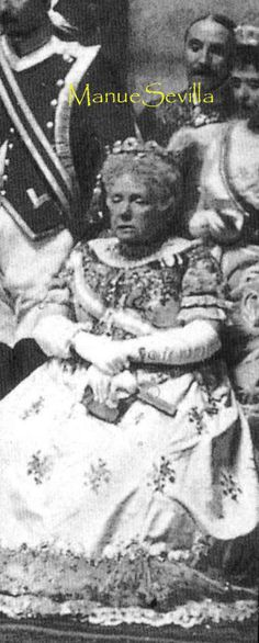 Isabella II's eldest daughter, La Chata, wearing the same diamond and emerald tiara later seen worn by Infanta Cristina