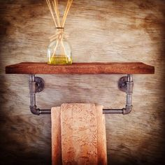 Reclaimed Wood Shelf with Industrial Pipe Towel Holder Home Decor - Bathroom Accessorie, Barn Wood Shelf and Towel Holder