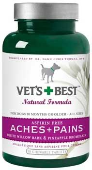 Aches And Pains For Dogs 50tab, Vets Best -  Aspirin Free Supplement Provides Extra Nutritional Support For Dogs That Suffer From Arthritis, Hip Dysplasia, And Other Abnormalities Of Joints And Bones.  This Formula, Which Includes 250 Mg Of Glucosamine In Each Tablet, Was Developed By A Veterinarian To Provide Nutritional Relief For Dogs With Sore Muscles And Stiff Joints.