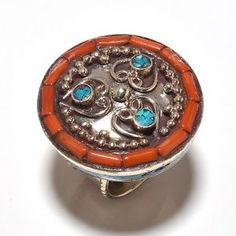 Vintage Tibetan 925 Silver Overlay Ring Turquoise & Coral Size US 8.5, Wt.19 gms. (R110)