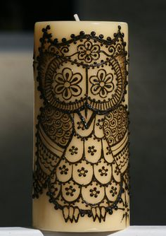 Henna Candle with a cute Henna Owl and Stars, yellow pillar candle