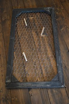Rustic Window Frame with chicken wire by CarriageHouseCreek