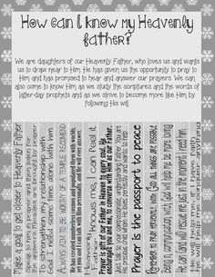 Weekly flyer: How can I know my Heavenly Father? | I'm a Young Women leader...NOW WHAT!