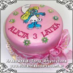 071. Tort dla małej dziewczynki ze Smerfetką. Smerfetka pink cake.