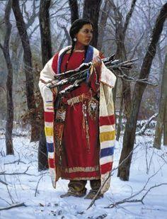 westernimagesltd.com-cheyenne wood gatherer by martin grelle