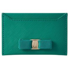 Salvatore Ferragamo Salvatore Ferragamo Miss Vara Leather Card Case ($206) ❤ liked on Polyvore featuring bags, wallets, green, bow wallet, 100 leather wallet, salvatore ferragamo, green bag and genuine leather wallet