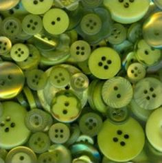 "100 Mixed Apple Green Bulk Sewing Buttons - multi sizes 1/8"" up to 1-1/2"""