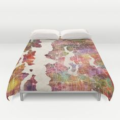 Too cool! Seattle map Duvet Cover by Map Map Maps - $99.00