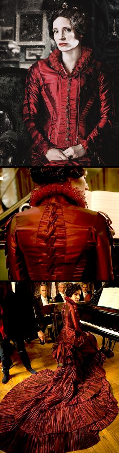 Jessica Chastain as Lucille Sharpe in 'Crimson Peak' (2015). Costume Designer: Kate Hawley