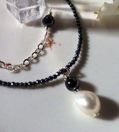 Black Hematite & Pearl Drop Necklace on Etsy, $65.00