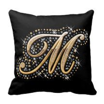 Elegant diamonds monogram M pillow