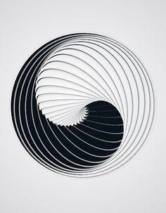 Yin and Yang black white spiral