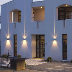 commercial lighting effects Green Terrace, Wall Lights, Lighting Uk, Outdoor Wall Lighting, External Lighting, Lighting, Commercial Lighting, Modern Exterior, Entry Lighting