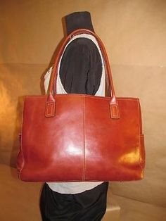 39aa53348e5c Fossil Chestnut Cognac Tan Leather Large Tote Bag Carry All 15 5 x 11 x 4