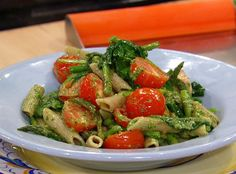 Healthy Pesto Pasta! One of Dr. Travis Stork's flat belly recipes featured on Rachael Ray this morning! Yum!