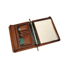 Royce Leather Deluxe Convertible Zip Around Binder/Folio 305-5 - Tan ($175) ❤ liked on Polyvore featuring home, home decor, office accessories, tan, leather ring binder, pocket pen, leather binder, file binder and zipper binder