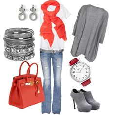 """Red / Coral, Grey, White, Jeans Outfit """"Tangerine"""" by marsers on Polyvore"""