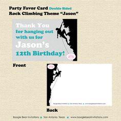 Rock Climbing Modern Graphic Boy Girl Teen Party Favor Thank You Card Birthday Party Boogie Bear Invitations Jason Theme Printable & Printed