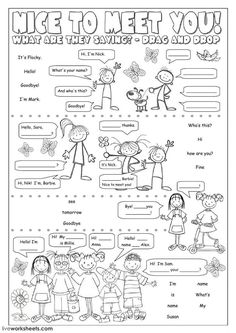 Nice to meet you! Language: English Level/group: Elementary School subject: English as a Second Language (ESL) Main content: Greetings and farewells Other contents: Greeting English Activities For Kids, Learning English For Kids, English Worksheets For Kids, English Lessons For Kids, Kids English, Teaching English, Learn English, English Primary School, Kids Worksheets