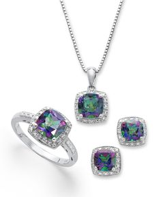 Sterling Silver Jewelry Set, Mystic Topaz (4-3/4 ct. t.w.) and Diamond Accent Necklace, Earrings and Ring Set - Necklaces - Jewelry & Watches - Macy's