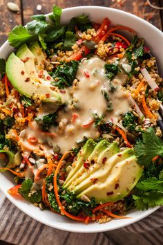 Warm kale and quinoa salad is the best way to eat your veggies! This vegan salad has lightly cooked vegetables, high protein quinoa, and the best lemon tahini dressing! #vegan #salad #quinoa Veggie Dishes, Veggie Recipes, Whole Food Recipes, Diet Recipes, Vegetarian Recipes, Cooking Recipes, Healthy Recipes, Warm Salad Recipes, Quinoa And Kale Recipes