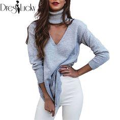 Moda gargantilha gola mulheres blusas vestido de malha pullover jumper de longo inverno 2016 magro knitting sweater exteriores puxar femme